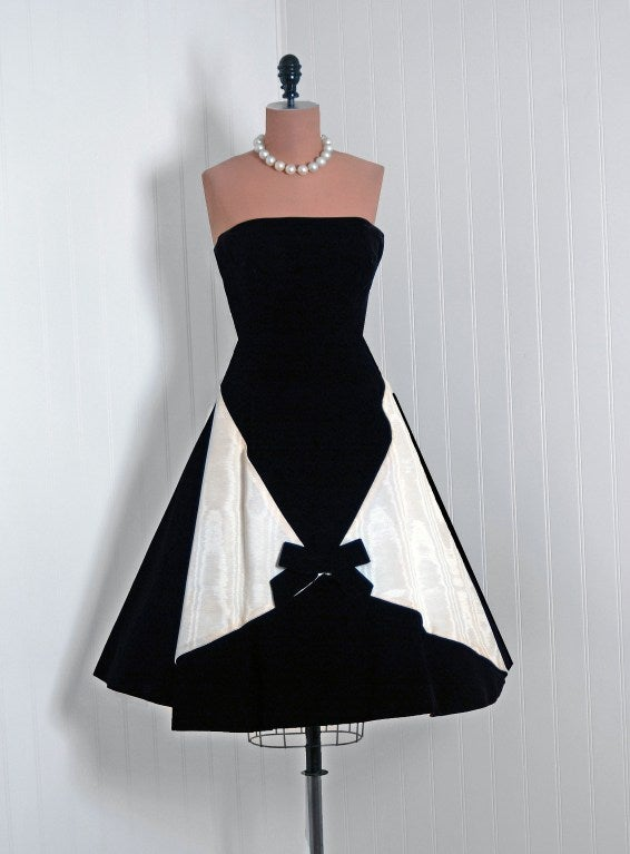 1950's Bob Bugnand Paris Black & White Strapless Party Dress 2