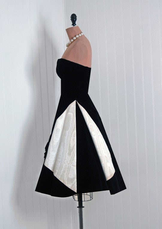 1950's Bob Bugnand Paris Black & White Strapless Party Dress 3