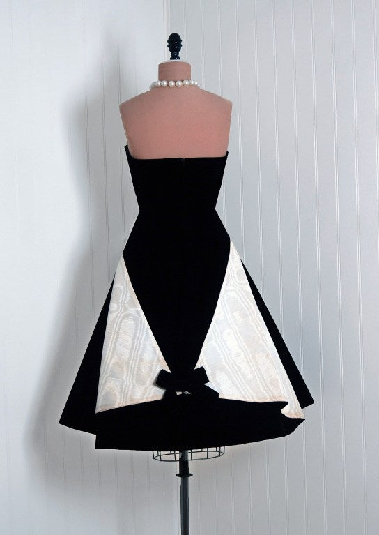 1950's Bob Bugnand Paris Black & White Strapless Party Dress 5