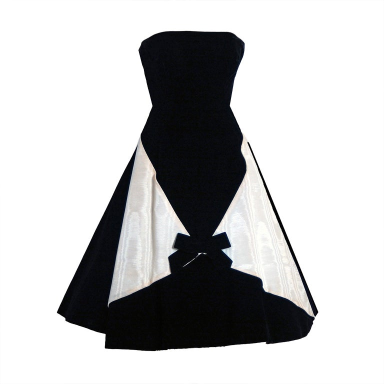 1950's Bob Bugnand Paris Black & White Strapless Party Dress