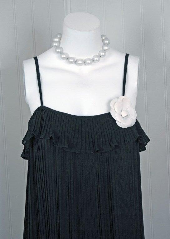 Women's 1970's Chanel Heavily-Pleated Black Silk-Chiffon Cocktail Dress