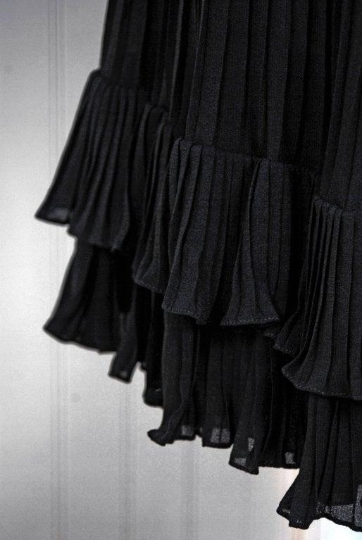 1970's Chanel Heavily-Pleated Black Silk-Chiffon Cocktail Dress 1