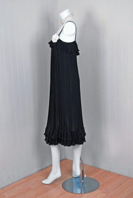 1970's Chanel Heavily-Pleated Black Silk-Chiffon Cocktail Dress 2