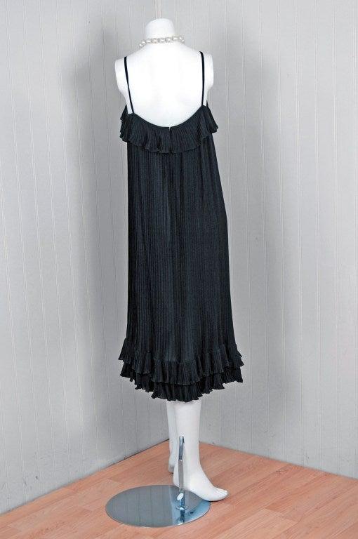 1970's Chanel Heavily-Pleated Black Silk-Chiffon Cocktail Dress 3