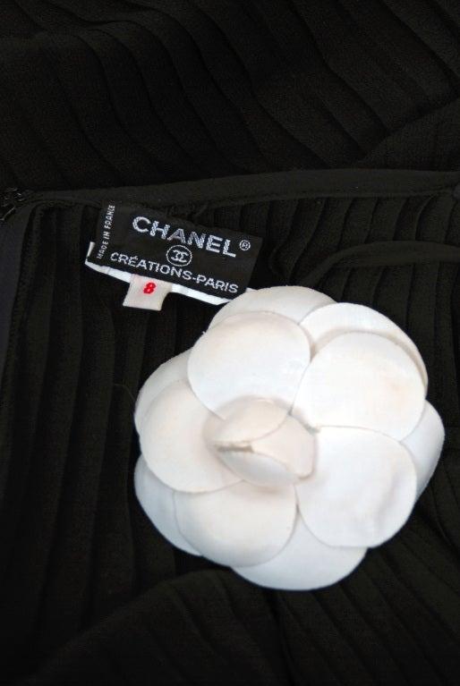 1970's Chanel Heavily-Pleated Black Silk-Chiffon Cocktail Dress 4
