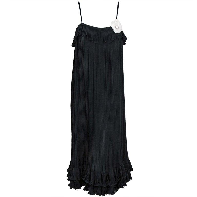 1970's Chanel Heavily-Pleated Black Silk-Chiffon Cocktail Dress