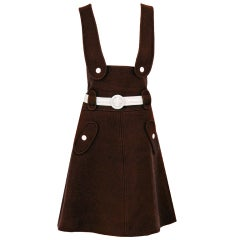 1960's Courreges Couture Brown Wool Space-Age Jumper Dress