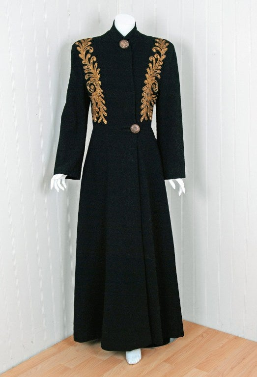 1930's Metallic-Gold Soutache & Jeweled Black Wool Princess Coat 2