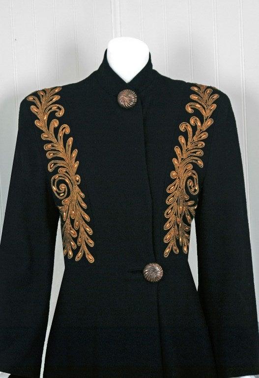 1930's Metallic-Gold Soutache & Jeweled Black Wool Princess Coat 3