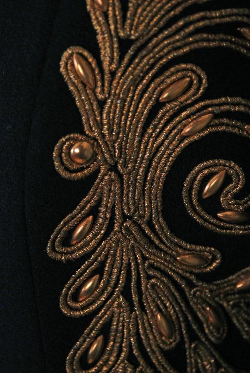 1930's Metallic-Gold Soutache & Jeweled Black Wool Princess Coat 4