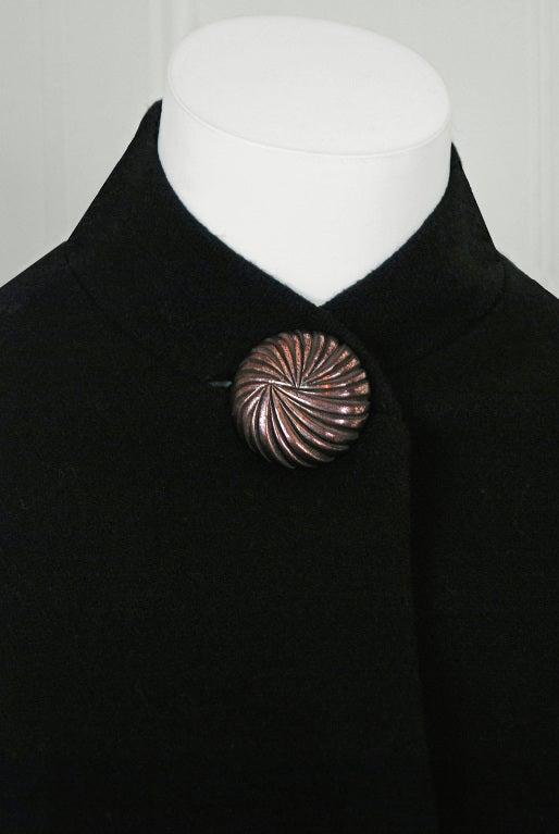 1930's Metallic-Gold Soutache & Jeweled Black Wool Princess Coat 5