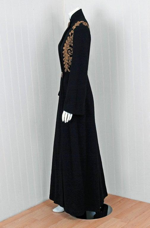 1930's Metallic-Gold Soutache & Jeweled Black Wool Princess Coat 6