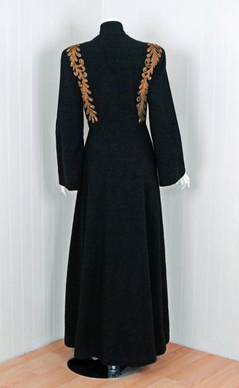 1930's Metallic-Gold Soutache & Jeweled Black Wool Princess Coat 7