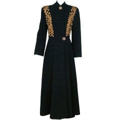 1930's Metallic-Gold Soutache & Jeweled Black Wool Princess Coat