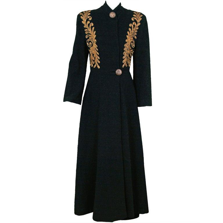 1930's Metallic-Gold Soutache & Jeweled Black Wool Princess Coat 1