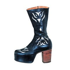 1970's Rare Black & Silver Leather Platform Glam-Rock Boots