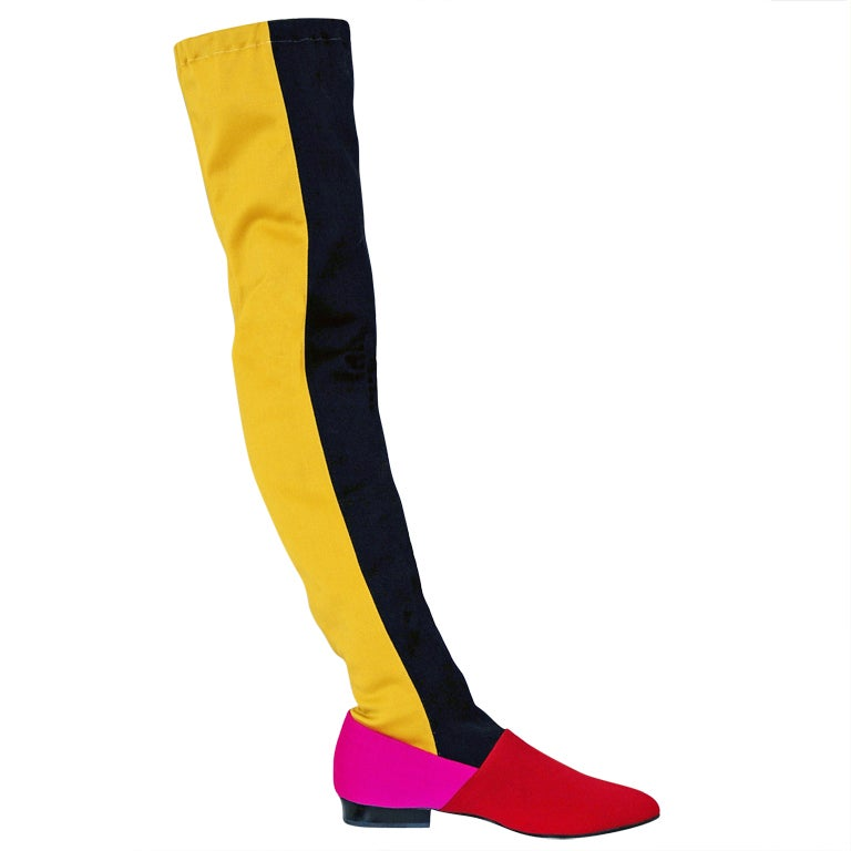 1980's Gianni Versace Couture Block Color Thigh-High Boots at 1stdibs