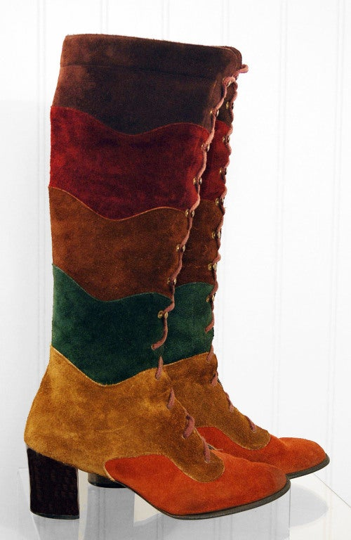 1960's Colorful Rainbow Stripe Patchwork Lace-Up Leather Suede Knee-High Boots 2