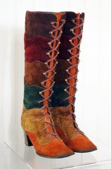 1960's Colorful Rainbow-Stripe Leather Suede Knee-High Boots thumbnail 3
