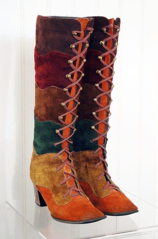 1960's Colorful Rainbow Stripe Patchwork Lace-Up Leather Suede Knee-High Boots 3