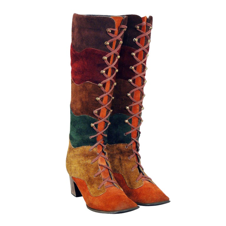 1960's Colorful Rainbow Stripe Patchwork Lace-Up Leather Suede Knee-High Boots 1