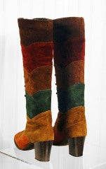 1960's Colorful Rainbow-Stripe Leather Suede Knee-High Boots thumbnail 5