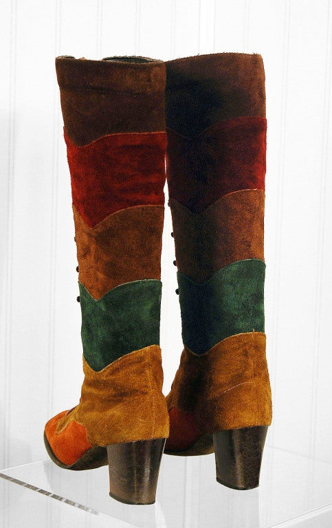 1960's Colorful Rainbow Stripe Patchwork Lace-Up Leather Suede Knee-High Boots 5