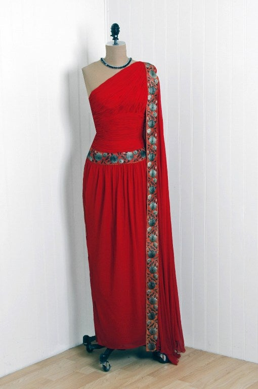 1960's Ruby-Red Heavily Ruched Silk-Chiffon Goddess Gown image 2