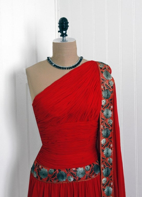 1960's Ruby-Red Heavily Ruched Silk-Chiffon Goddess Gown image 3