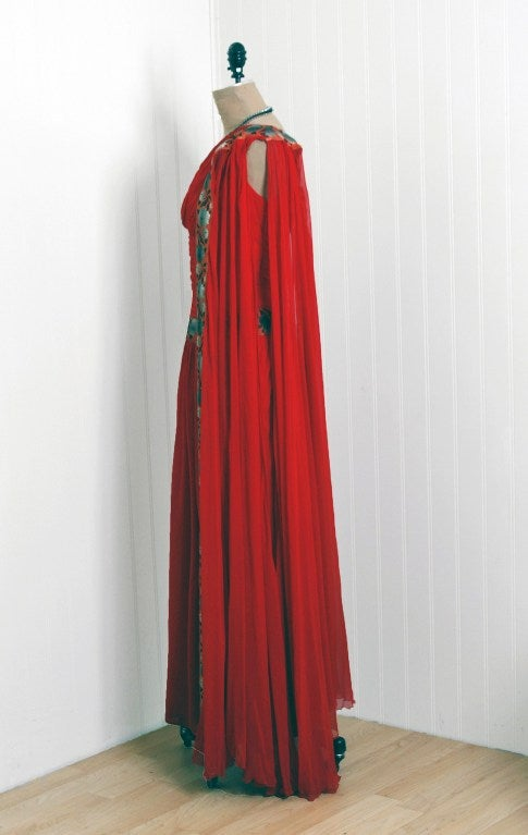 1960's Ruby-Red Heavily Ruched Silk-Chiffon Goddess Gown image 5