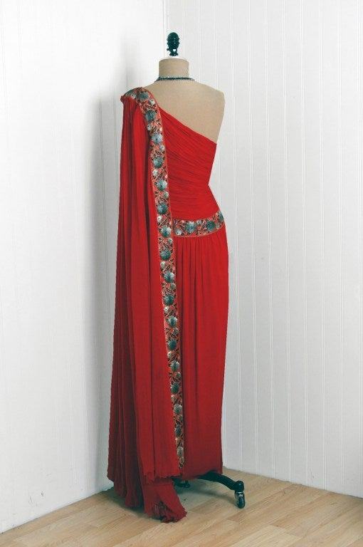1960's Ruby-Red Heavily Ruched Silk-Chiffon Goddess Gown 6