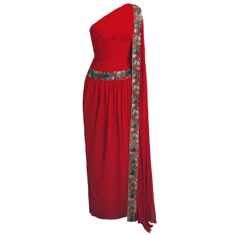 1960's Ruby-Red Heavily Ruched Silk-Chiffon Goddess Gown 1
