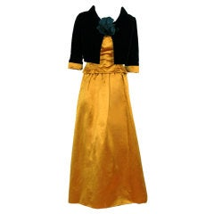 1950's Scaasi Strapless Golden Satin & Black Velvet Evening Gown With Jacket