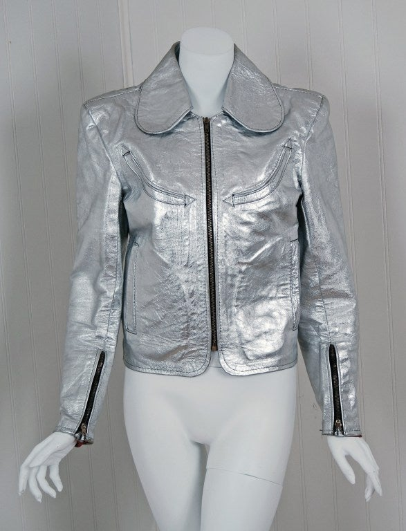 1970's Rare Metallic-Silver Leather Zip-Up Rodeo Cropped Jacket image 2