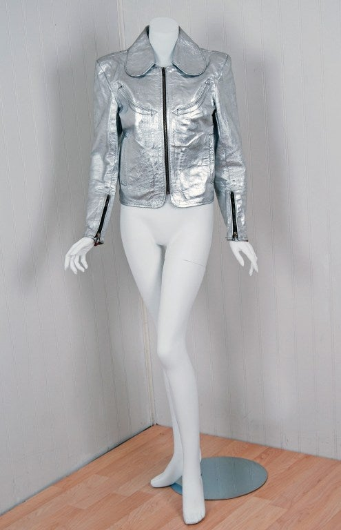 1970's Rare Metallic-Silver Leather Zip-Up Rodeo Cropped Jacket image 3