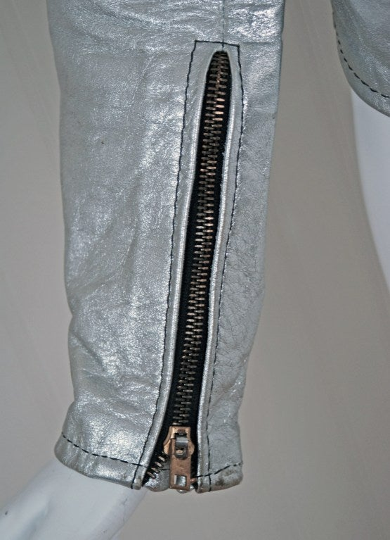 1970's Rare Metallic-Silver Leather Zip-Up Rodeo Cropped Jacket image 4