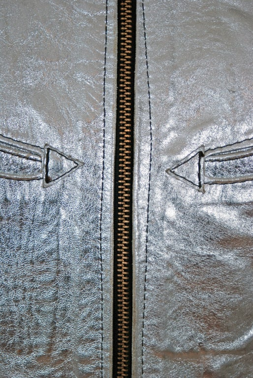 1970's Rare Metallic-Silver Leather Zip-Up Rodeo Cropped Jacket image 5