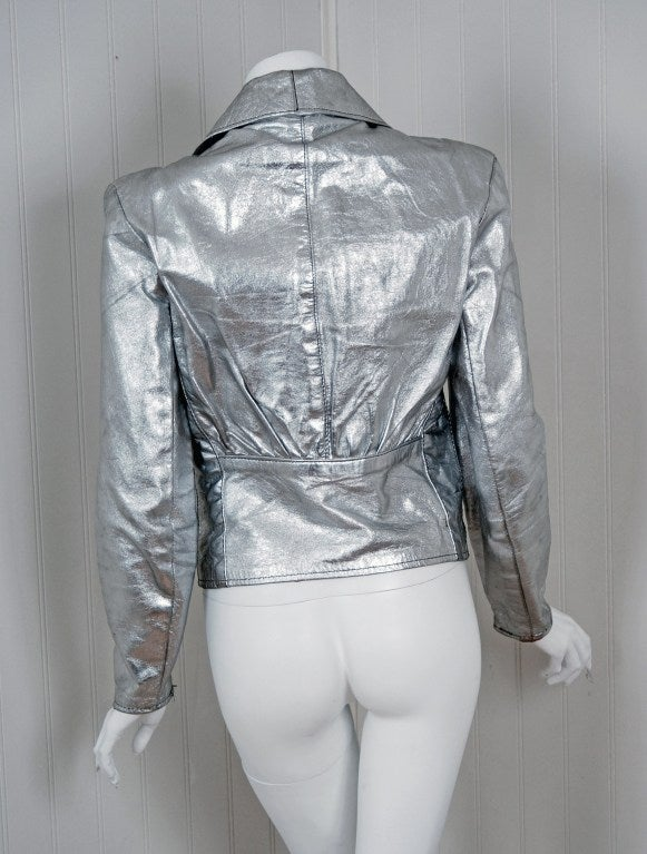 1970's Rare Metallic-Silver Leather Zip-Up Rodeo Cropped Jacket image 6