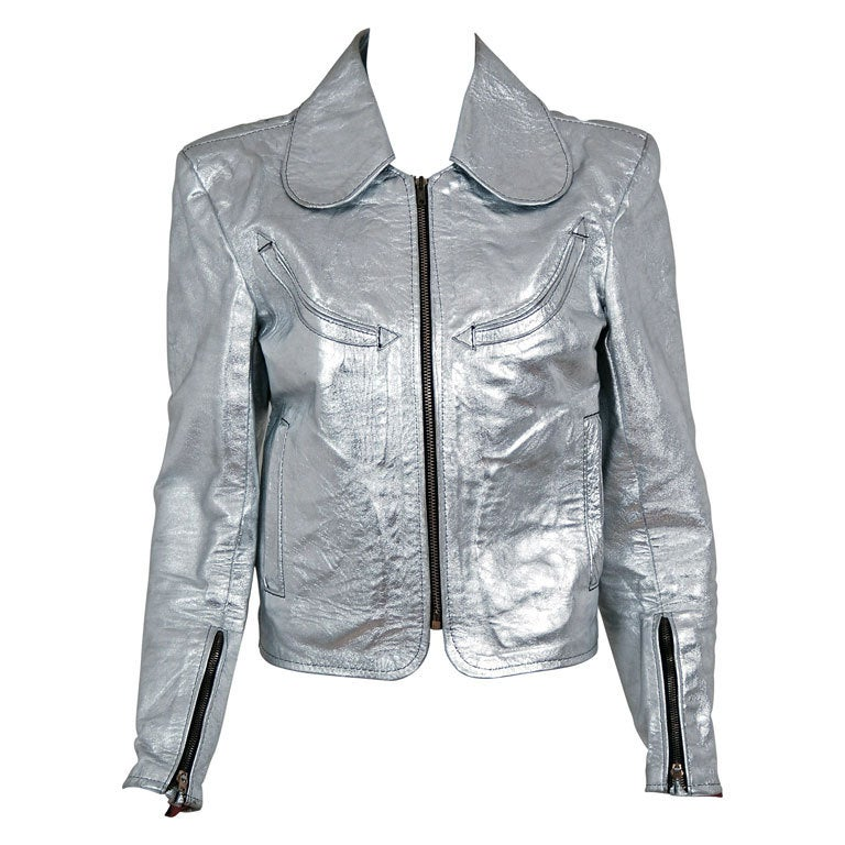 1970's Rare Metallic-Silver Leather Zip-Up Rodeo Cropped Jacket