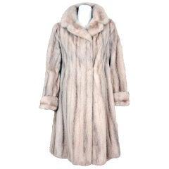 1960's Luxurious Ivory-Blonde Mink Fur Tailored Princess Coat