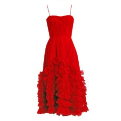 1950's Ceil Chapman Ruby-Red Tiered Ruffle-Tulle Hourglass Cocktail Dress