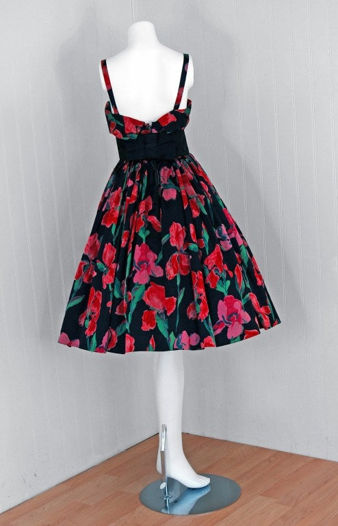 Women's Vintage 1955 Traina-Norell Couture Watercolor Iris-Floral Print Satin Dress For Sale