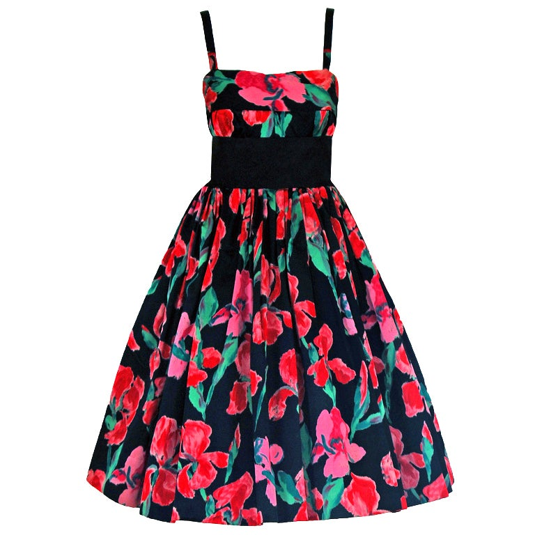 1955 Traina-Norell Watercolor Iris-Floral Print Satin Full Cocktail Party Dress For Sale