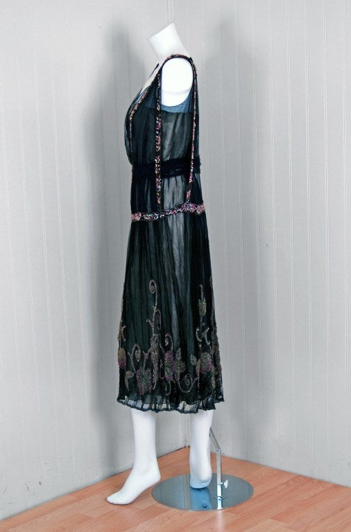 1925 Jeanne Paquin Colorful Beaded Silk-Tulle Flapper Dress 2