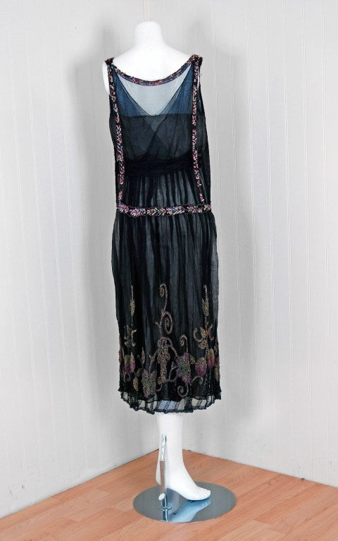 1925 Jeanne Paquin Colorful Beaded Silk-Tulle Flapper Dress 5