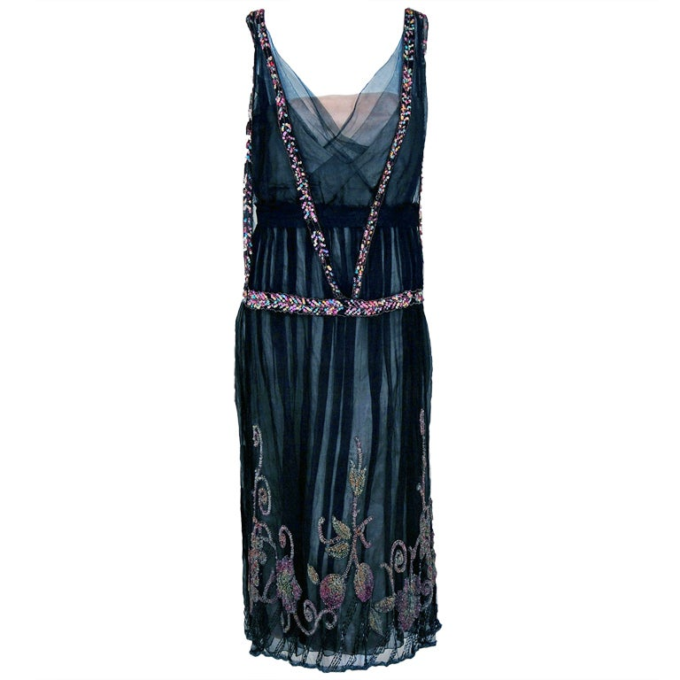 1925 Jeanne Paquin Colorful Beaded Silk-Tulle Flapper Dress