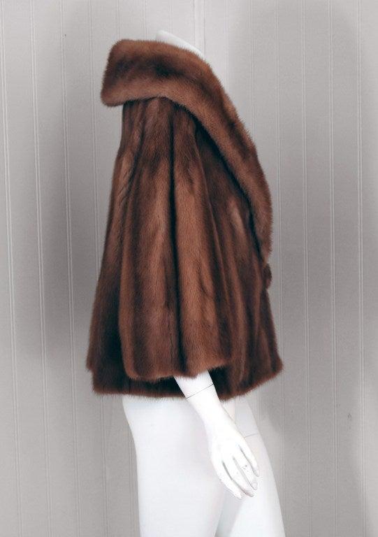 1950's Luxurious Rich-Brown Mink Fur Low-Plunge Bolero Jacket image 2