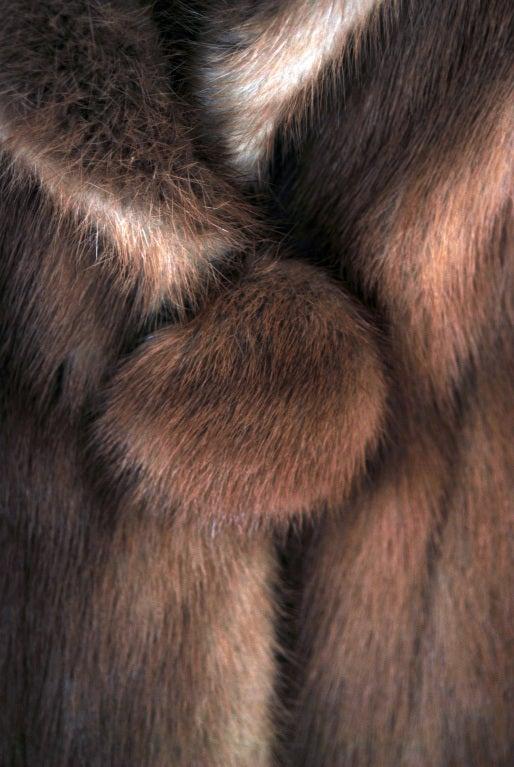 1950's Luxurious Rich-Brown Mink Fur Low-Plunge Bolero Jacket image 3