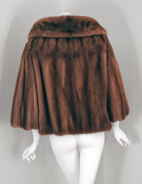 1950's Luxurious Rich-Brown Mink Fur Low-Plunge Bolero Jacket image 4