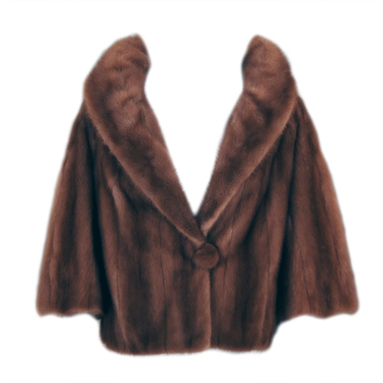 1950's Luxurious Rich-Brown Mink Fur Low-Plunge Bolero Jacket 1